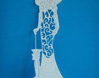 Cutting woman silhouette in white design for scrapbooking or card paper