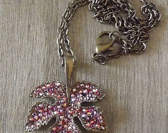Manufacturing bronze 3D leaf necklace SWAROVSKI Crystal pendant made by hand in gift box