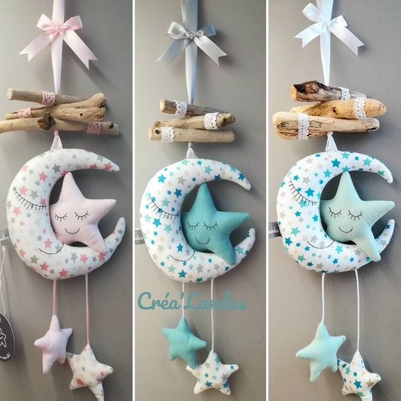 Lune étoiles Mobile bois flotté décoration chambre enfant bébé | Etsy