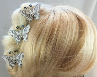 hairpins Butterfly white silk body beads, gunmetal - m - Ombre, spring, made in France