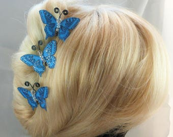 hairpins Butterfly blue silk body beads, gunmetal - m - Ombre, spring, made in France