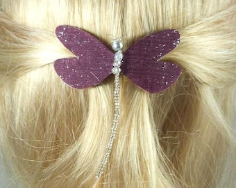 hair French 6 cm Burgundy silk dragonfly, beads transparent collection Cybelia - ombre body made in France