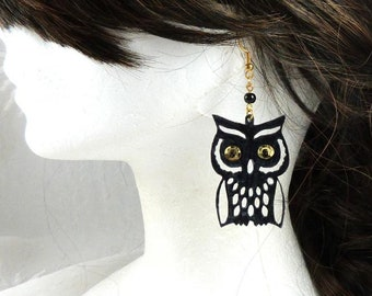 Owls, owls earrings in black PVC, eyes sequins mounting Golden-Halloween, costume jewels, made in France
