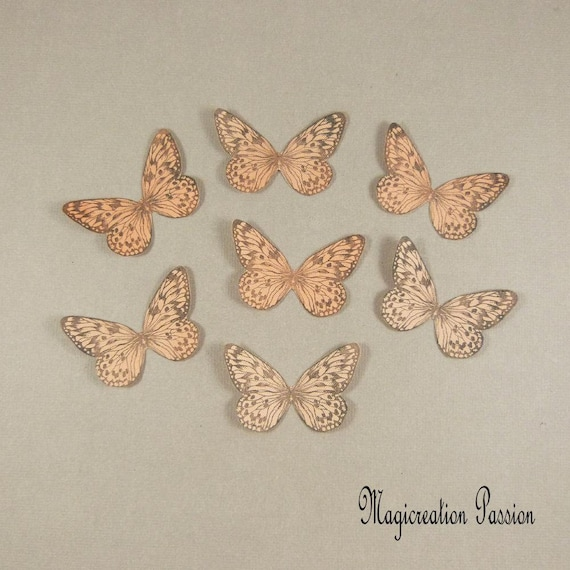 Set of 2 Brown Sequin /& Glitter Butterfly 8cm Wingspan