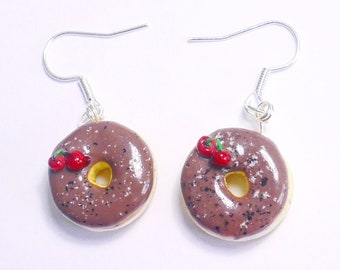 Earrings - donut Chocolate Cherry polymerclay