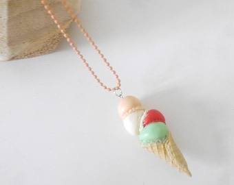 Necklace - ice cream cone multicolor polymerclay