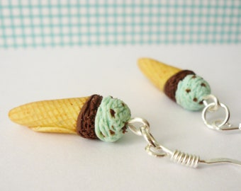 Chocolate mint ice cream cone earrings