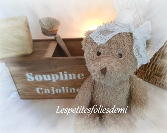cottage chic & small care bear Emily with its wooden box