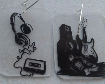 Earrings retro rock and roll