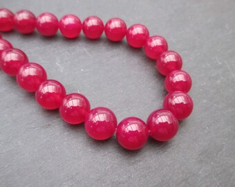 Dark fuchsia pink agate: 5 round beads 10 mm