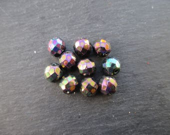 Faceted 10 mm: 10 beads purple iris Bohemian-