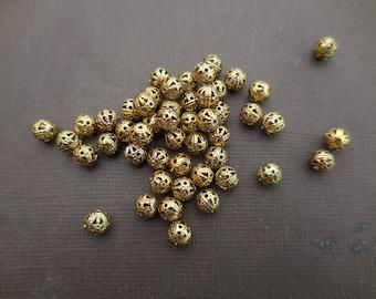 Filigree antique gold metal 6 mm round beads: 1 set of 50