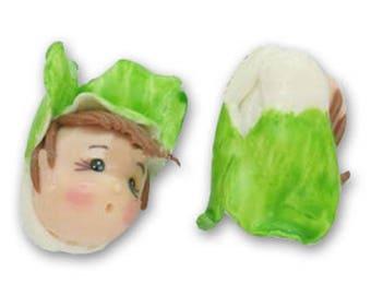 Poupée fimo bonnet vert et blanc de 15 mm * 1