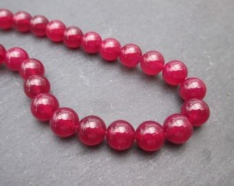 Dark fuchsia pink agate: 10 round beads 8 mm