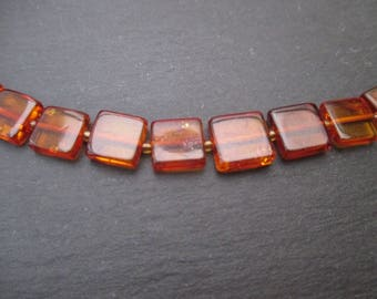 Baltic amber: 3 square beads 7-8 mm - gemstone cognac color