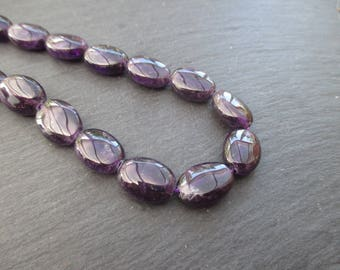 Dark Amethyst: 2 14 mm * 10 mm flat oval beads