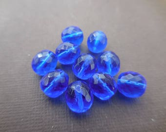 Faceted 10 mm: 10 10 mm blue Sapphire beads Bohemian