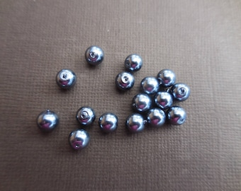 Pearls 4 mm anthracite * 1 set of 20 beads
