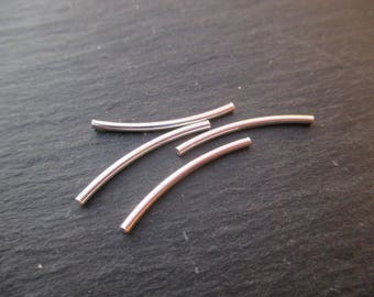 Tube beads 25 mm Silver 925 curved in packs of 2
