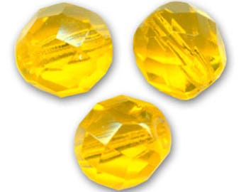 Faceted citrine 8 mm: 10 yellow beads Bohemian
