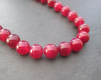 Fuchsia pink agate: 2 round beads 14 mm