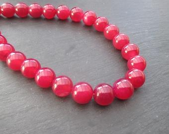 Fuchsia pink agate: 3 round beads 12 mm.