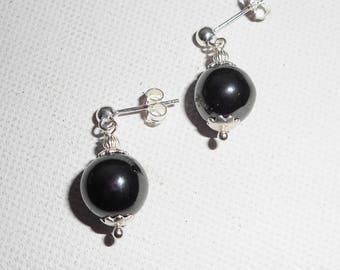 Earrings in 925 sterling silver 10mm Hematite stones
