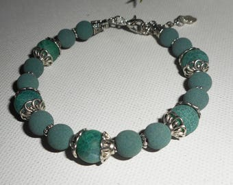 Lava beads and green agate stone bracelet