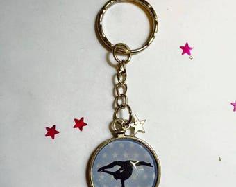 "Keychain Metal free shipping ""Gymnast Gym"" glass Cabochon"