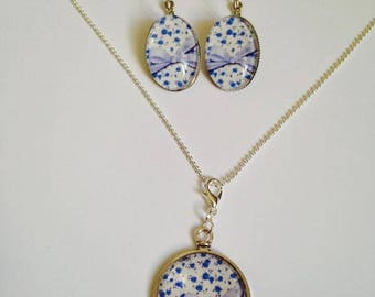 """Sleeper loop necklace cabochon """"Blueberry"""" set"""