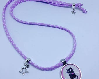 Necklace charm purple and white polka dot fabric