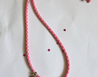 Necklace charm, pink and white polka dot fabric