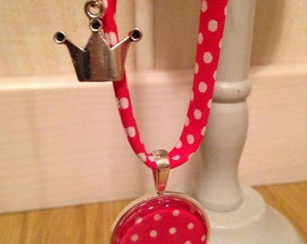 Necklace charm, red and white polka dot fabric