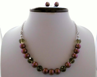 Neck clean +fine stone earrings and boho glass, stainless steel chain, amethyst, dark gray, handmade.