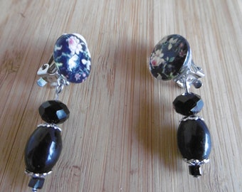 Clip earrings, glass beads, cabochon, black, silver, for not pierced ears, woman jewelry, unique gift