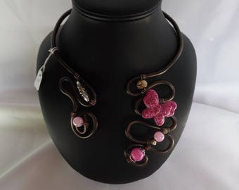 Neck collar, aluminum yarn, brown, pink, butterfly, glass, festive, wedding, accessory, women's jewelry, gift for her