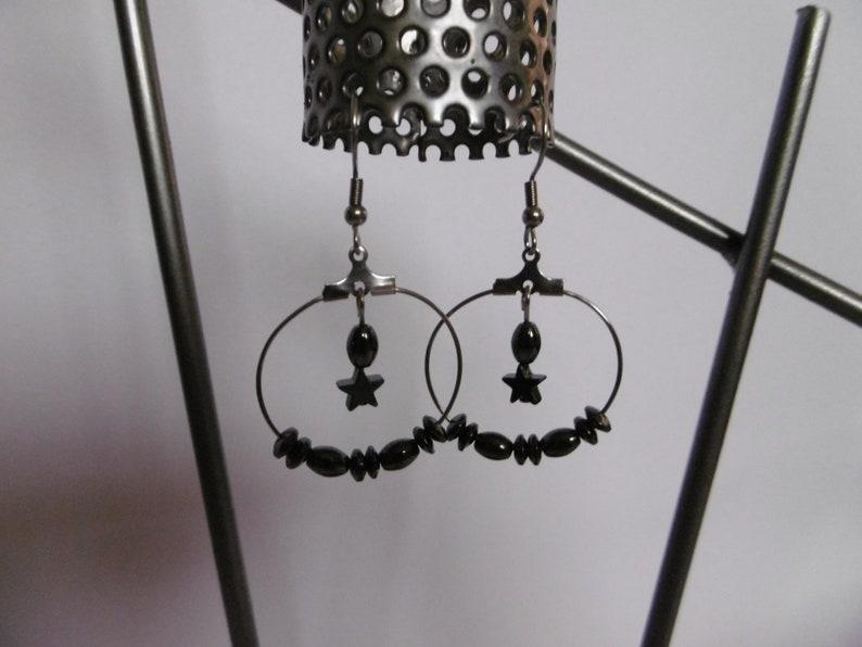 black modern women jewelry unique gift hematite Hoop earrings Star stainless steel