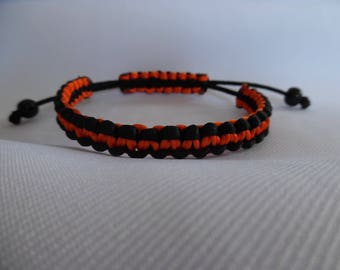 Tibetan men's bracelet, silk thread, adjustable, black, orange, reversible, men's jewel, gift for him, accessory, handmade