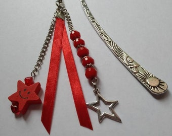 Celestial metal bookmarks, glass beads, stars, satin ribbon, red, silver, book accessories, unique gift.