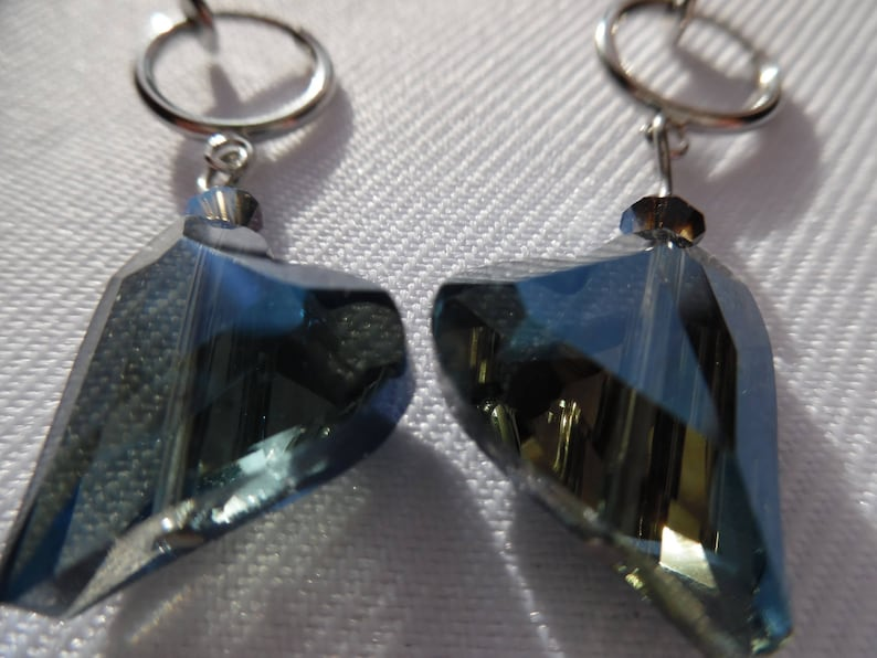 gift for her jewel woman accessory stainless steel not pierced Clip earrings midnight blue heart Crystal