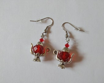Teapot earrings, glass beads, Swarovski crystal, red, silver, stainless steel hooks, unique woman jewelry.