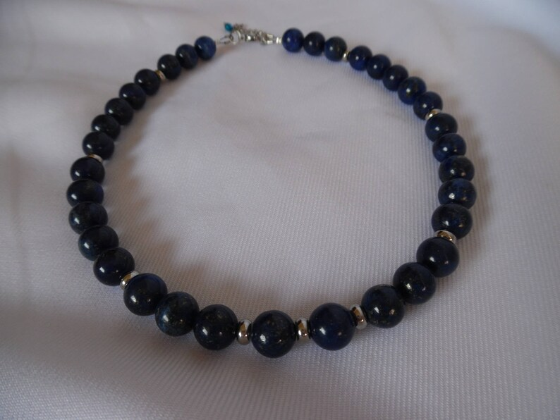women jewelry silver blue Short necklace gemstones lapis lazuli unique gift for her stainless steel