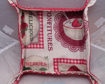 Soft basket fabric coated red and white