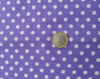 Coupon cotton, purple, white polka dots, 50 x 150 cm