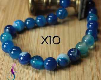 10 pearls 8mm blue agate