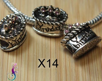 14 cake birthday in silver metal and rhinestones Pink for bracelet or necklace