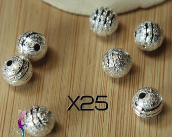 25 8 mm carved silver stardust beads