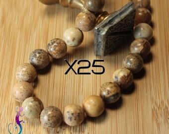 25 10mm Tan Jasper beads