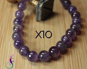 10 pearls 8mm Amethyst