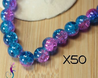 50 beads round 10mm cracked glass blue and pink